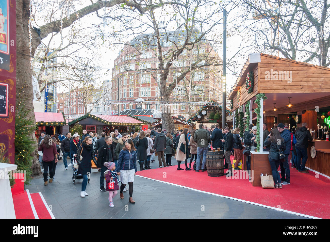 Christmas in Leicester Square festival, Leicester Square, West End, City of Westminster, Greater London, England, Stock Photo