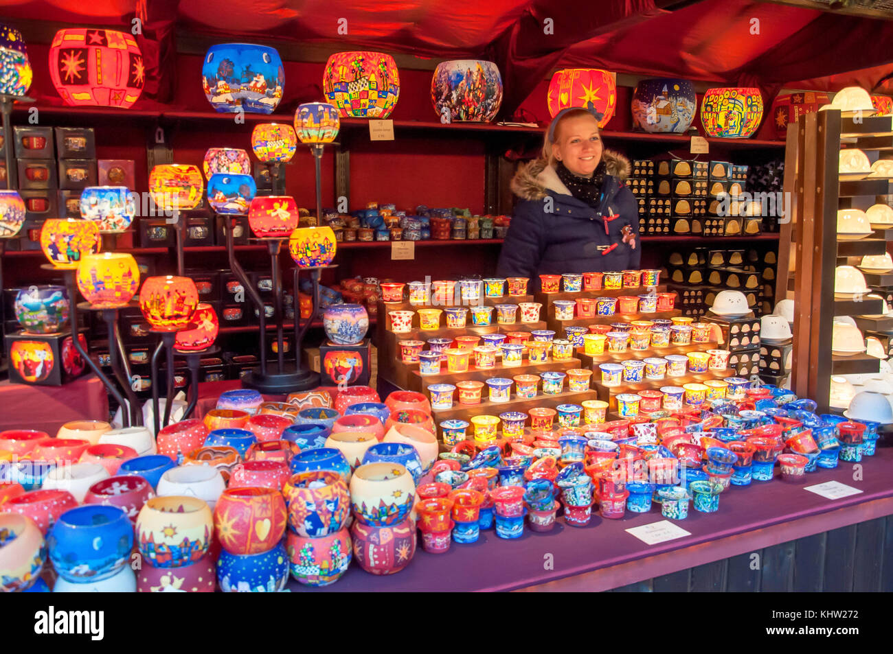 Candle holder stall at Christmas in Leicester Square festival, Leicester Square, West End, City of Westminster, - Stock Image