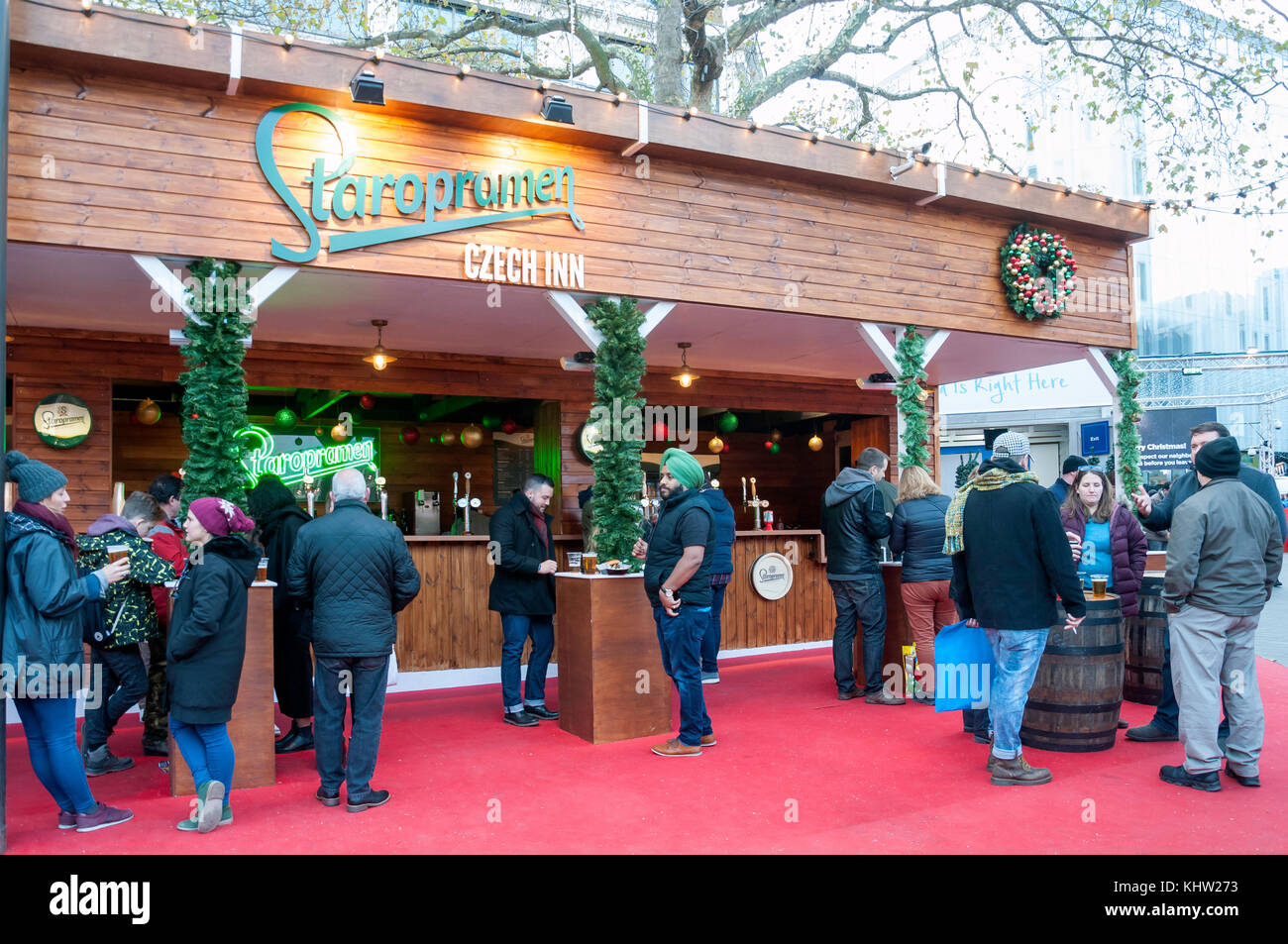 Starpromen Czech Inn at Christmas in Leicester Square, Leicester Square, West End, City of Westminster, Greater - Stock Image