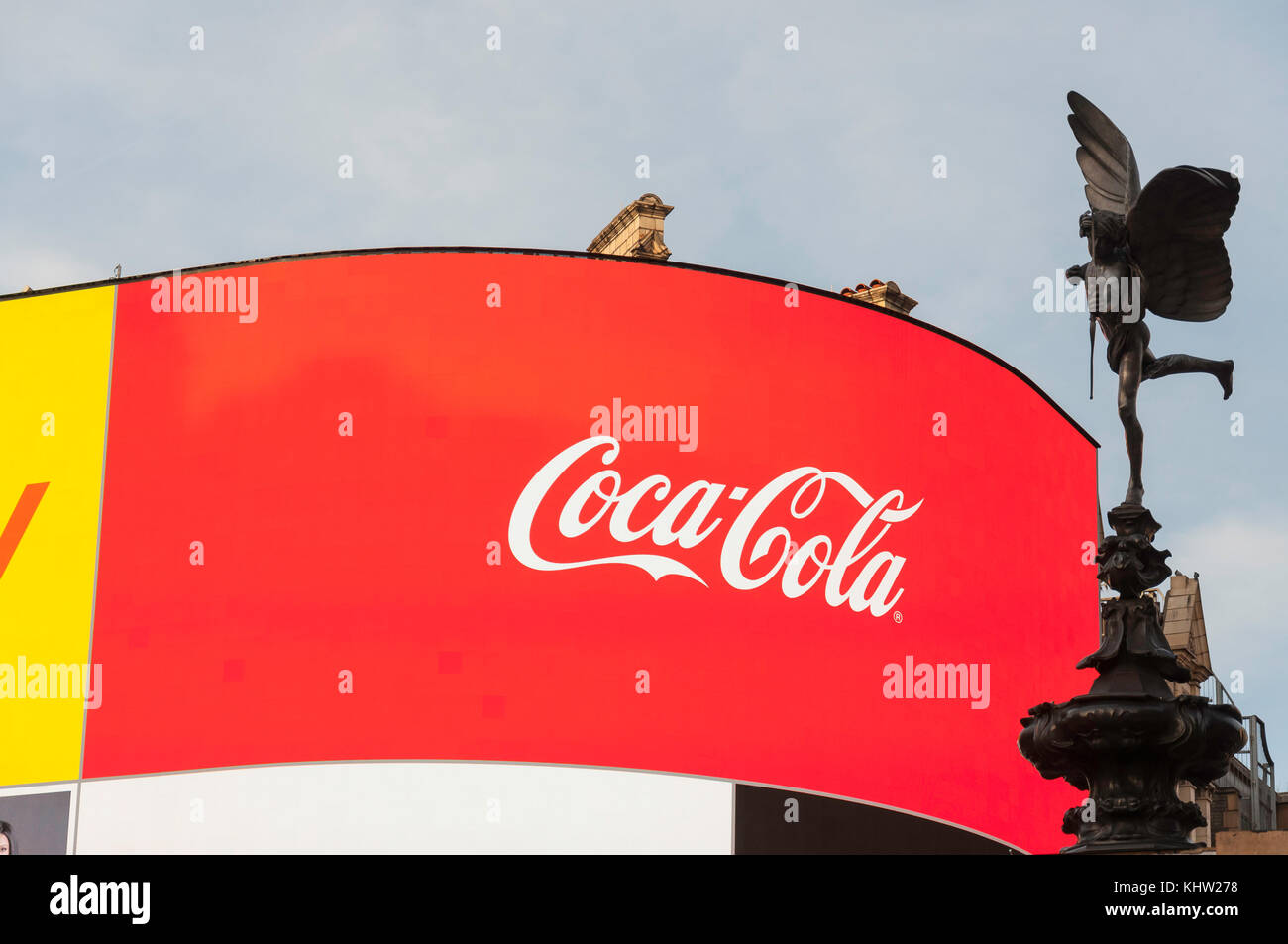 Neon signs and Statue of Anteros in Piccadilly Circus, Piccadilly, West End, City of Westminster, Greater London, - Stock Image