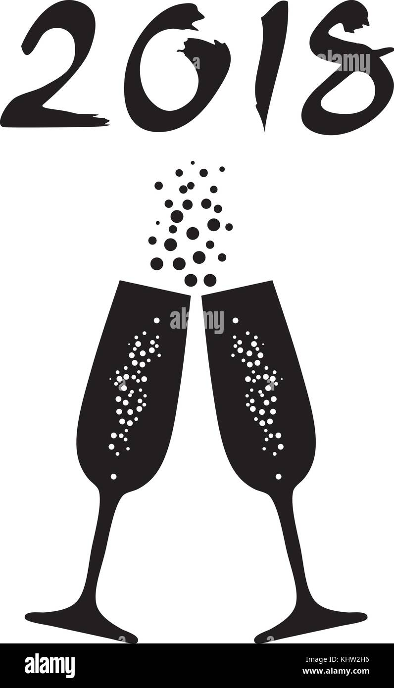 vector illustration of happy new year 2018 background with champagne glasses