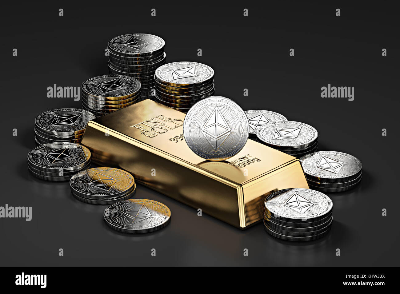 Big stack of golden Ethereum coins and gold bar (gold ingot). Ethereum as a future gold (most precious commodity - Stock Image