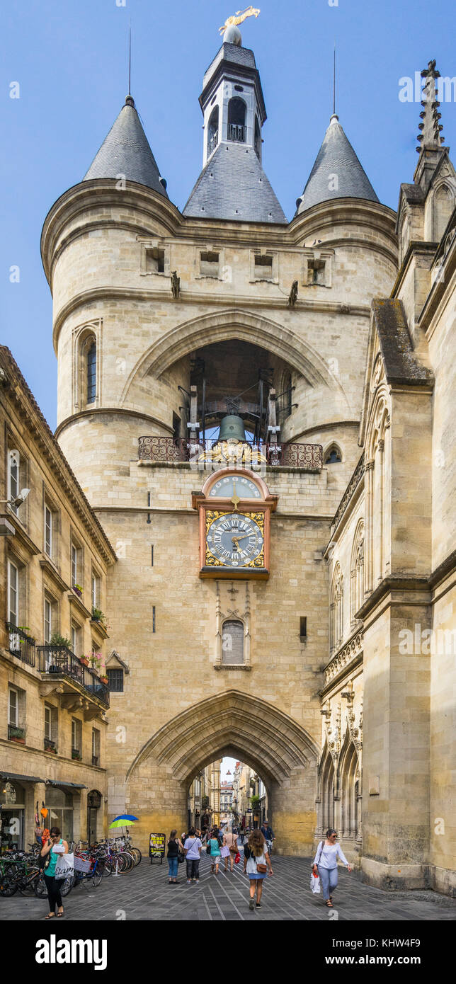France, Gironde department, Bordeaux, 15th century Porte de la Grosse Cloche (Gate of the Big Bell) - Stock Image