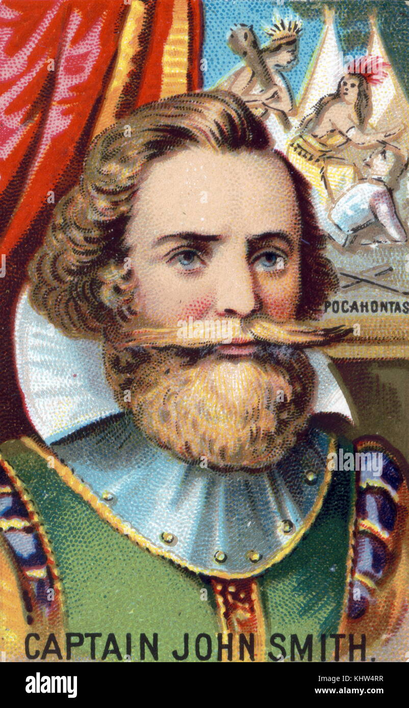 Portrait of Captain John Smith, Admiral of New England  (1580-1631) an English soldier, explorer, and author. Dated - Stock Image