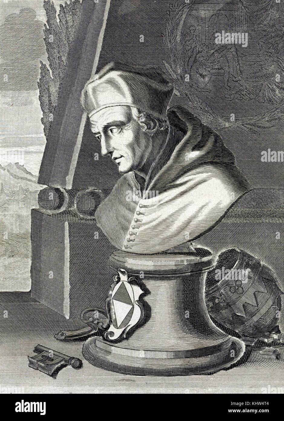 Engraving depicting a bust of Pope Gregorie XII (1326-1417) who was forced to resign to end the Western Schism. - Stock Image