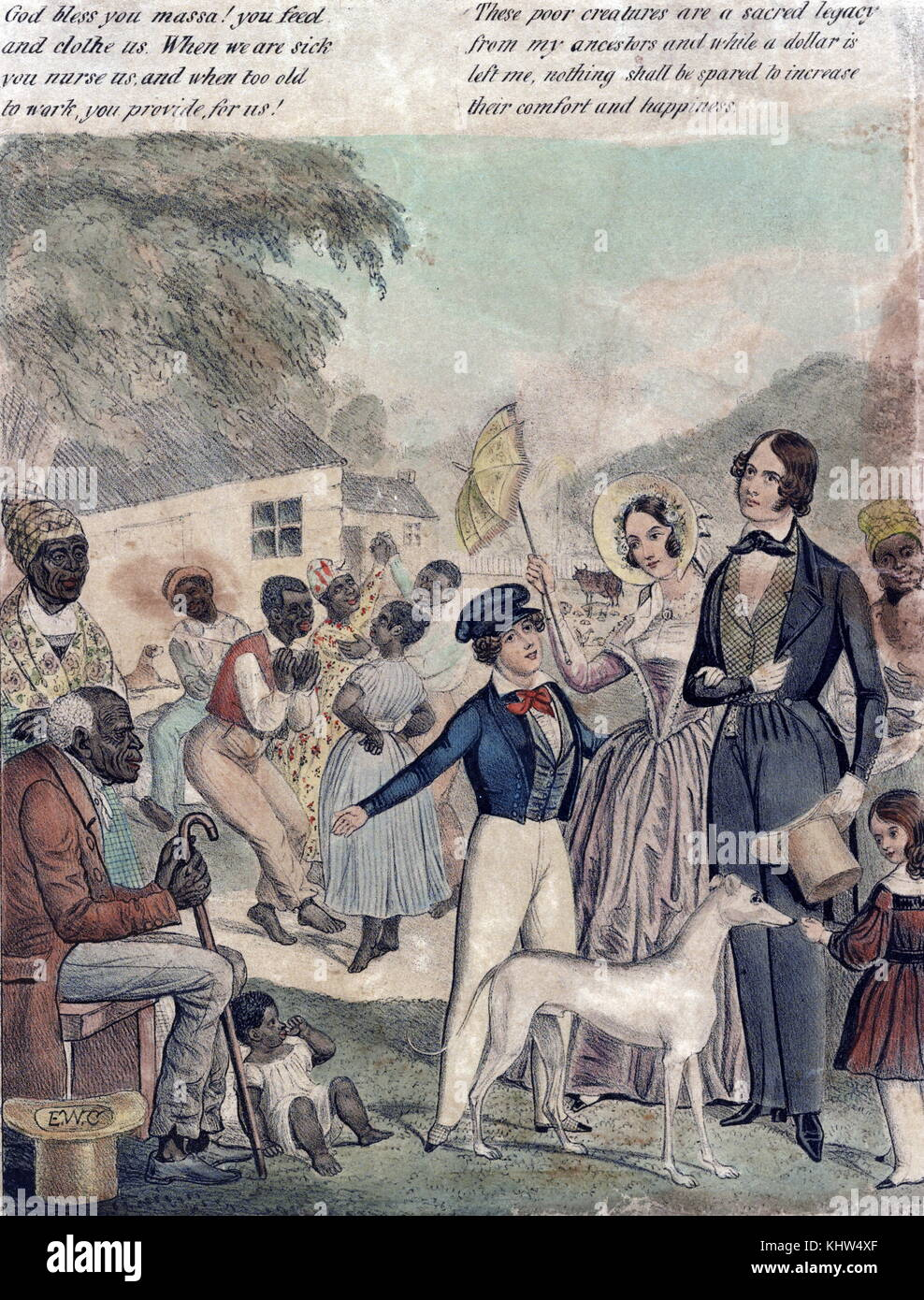 Print depicting an idealised portrayal of American slavery and the conditions of blacks under the 1841 system. Dated - Stock Image