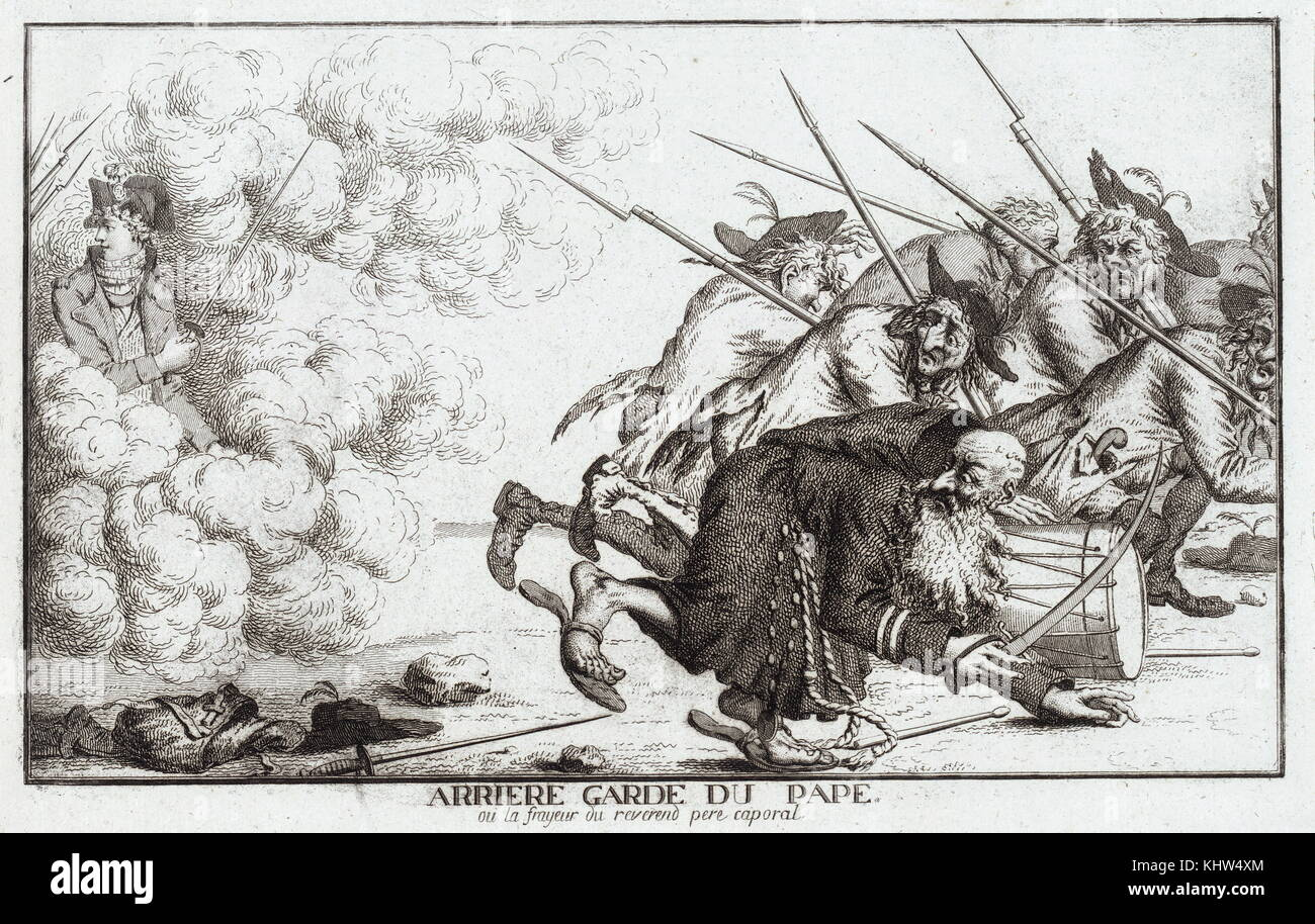 Print depicting the ragged rear-guard troops of the Pope's army cowering as they retreat from the advancing - Stock Image