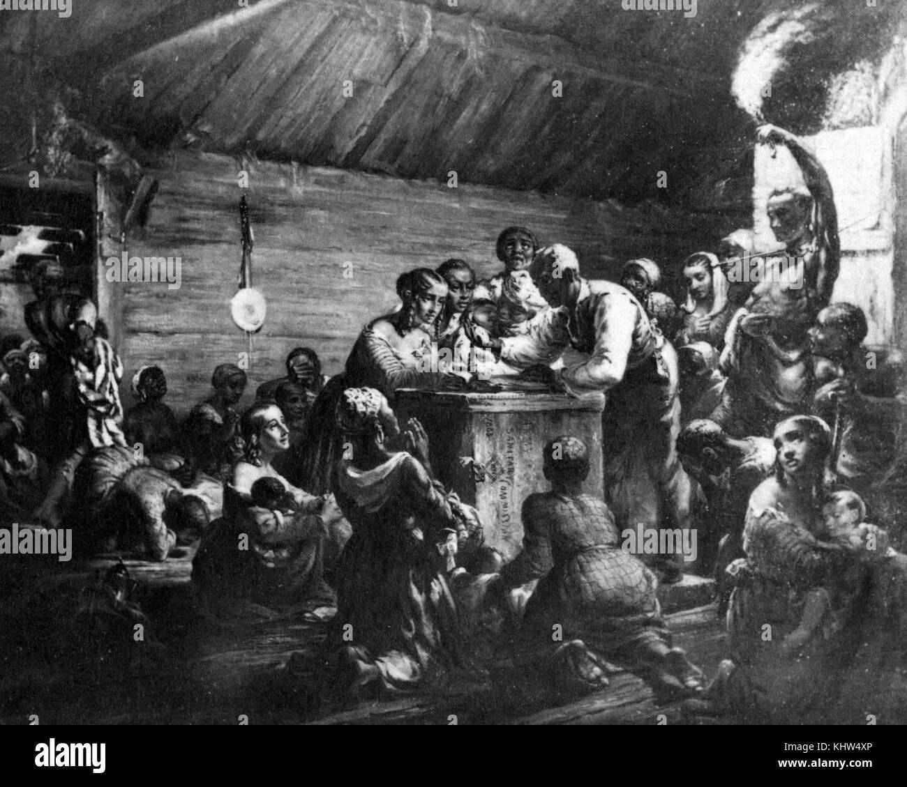 Print depicting African-American men, women, and children gathered around a man with a watch, waiting for the Emancipation - Stock Image