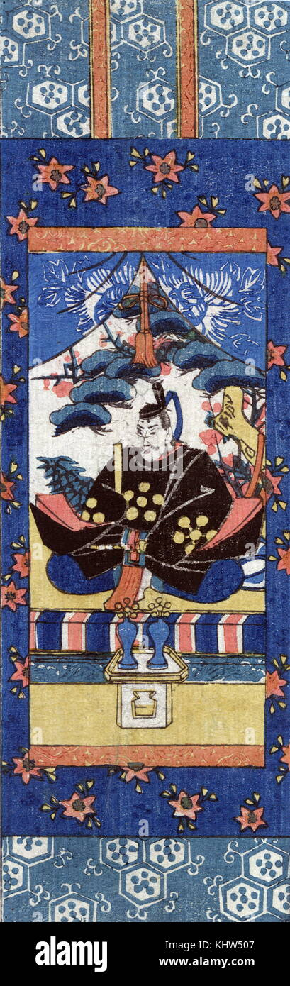 Printed miniature scroll painting of Tenjin turned to the left. The scroll depicts Sugawara Michizane as Tenjin, - Stock Image