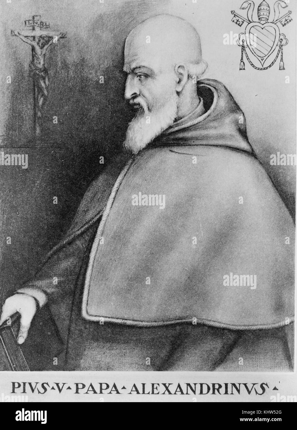 Portrait of Pope Puis V (1566-1572) noted for his role in the Council of Trent, the Counter-Reformation, and the - Stock Image