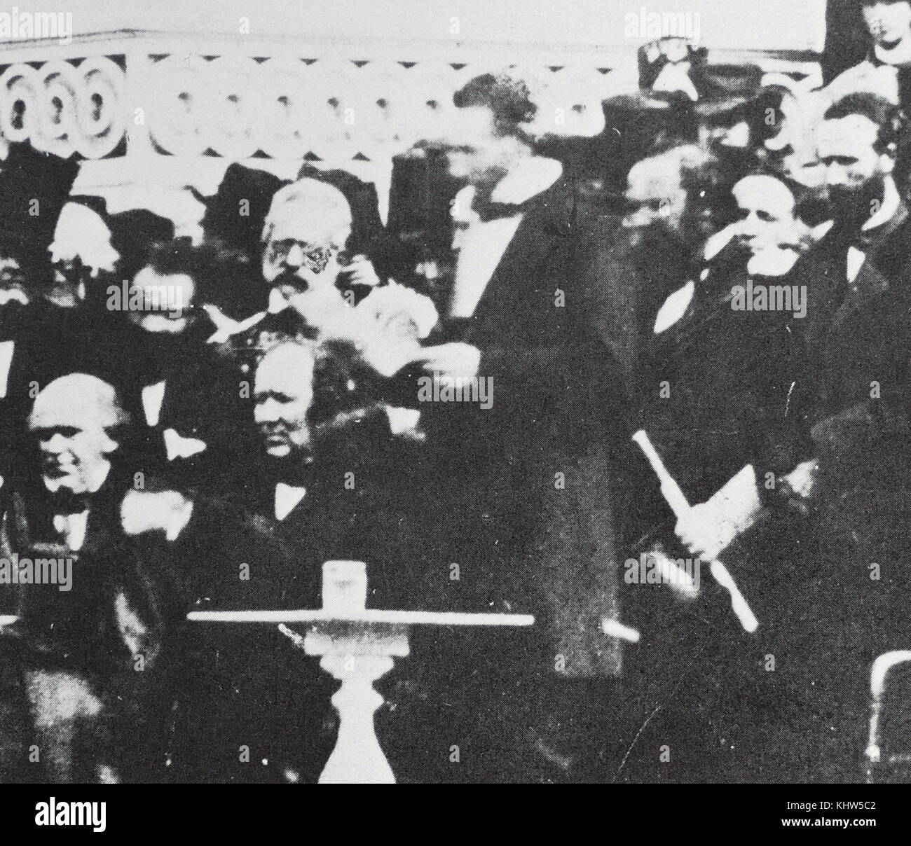 Photograph taken during the inauguration of President Abraham Lincoln (1809-1865) an American politician, lawyer - Stock Image