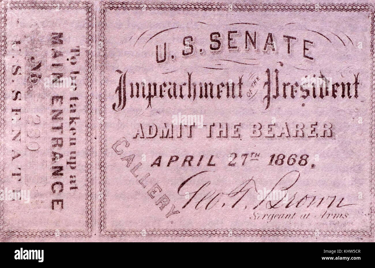 Permit to attend the impeachment proceedings of President Andrew Johnson. President Andrew Johnson (1808-1875) 17th - Stock Image