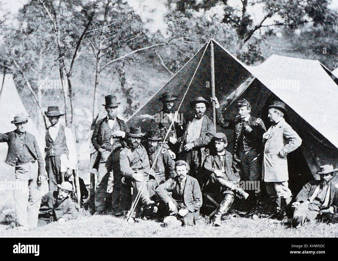 Photograph taken of a group at the Secret Service Department, Headquarters. Army of the Potomac, Antietam, October, - Stock Image