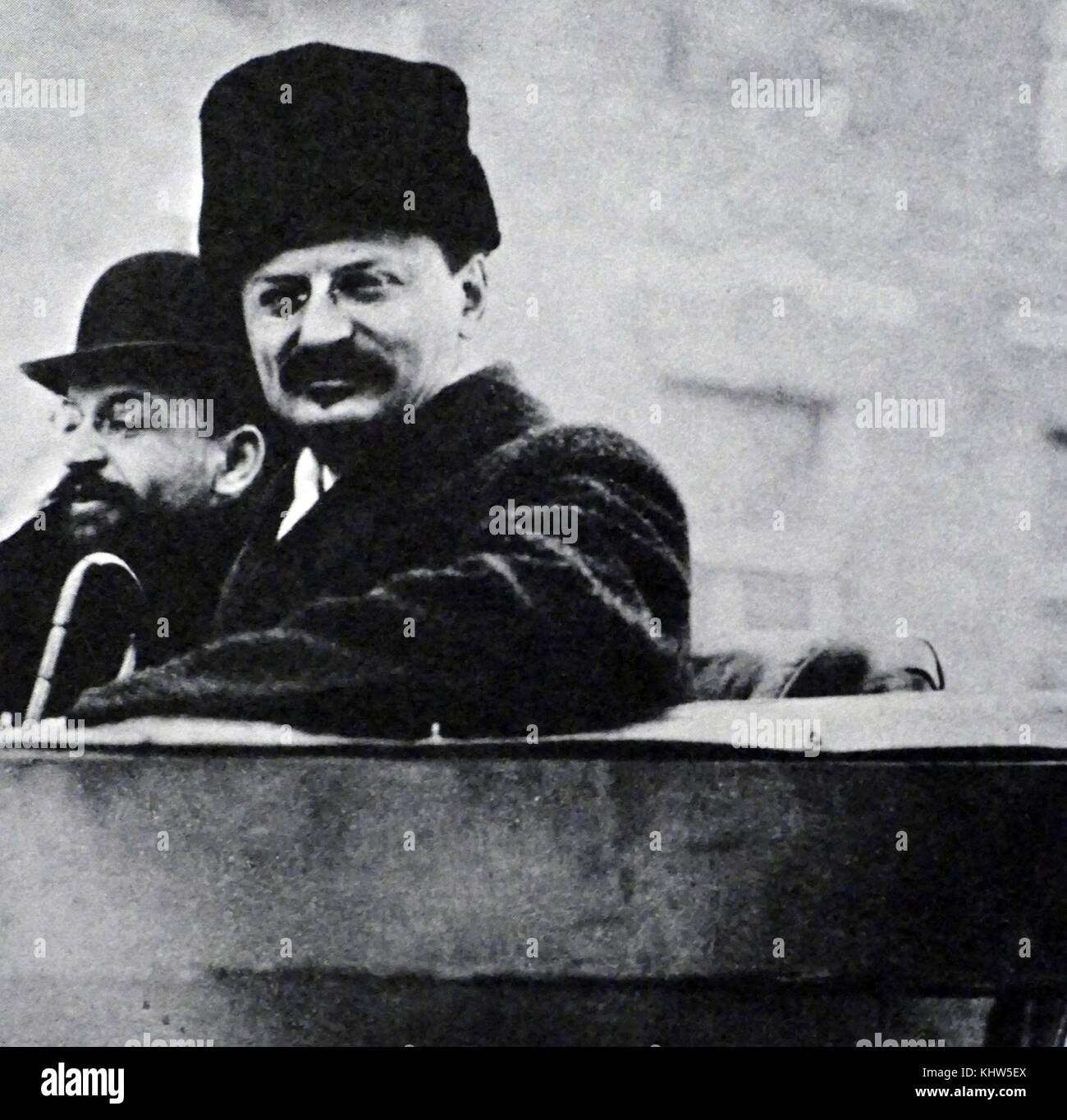 Photograph of Leon Trotsky during the Treaty of Brest-Litovsk, a peace treaty signed on 3 March 1918 between the - Stock Image