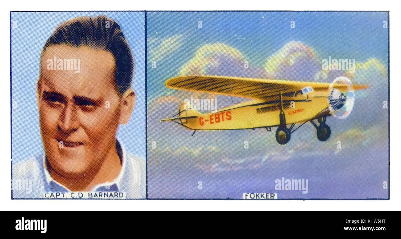 Illustration depicting  Charles Douglas Barnard and his plane Fokker. Charles Douglas Barnard (1895-1971) a British - Stock Image