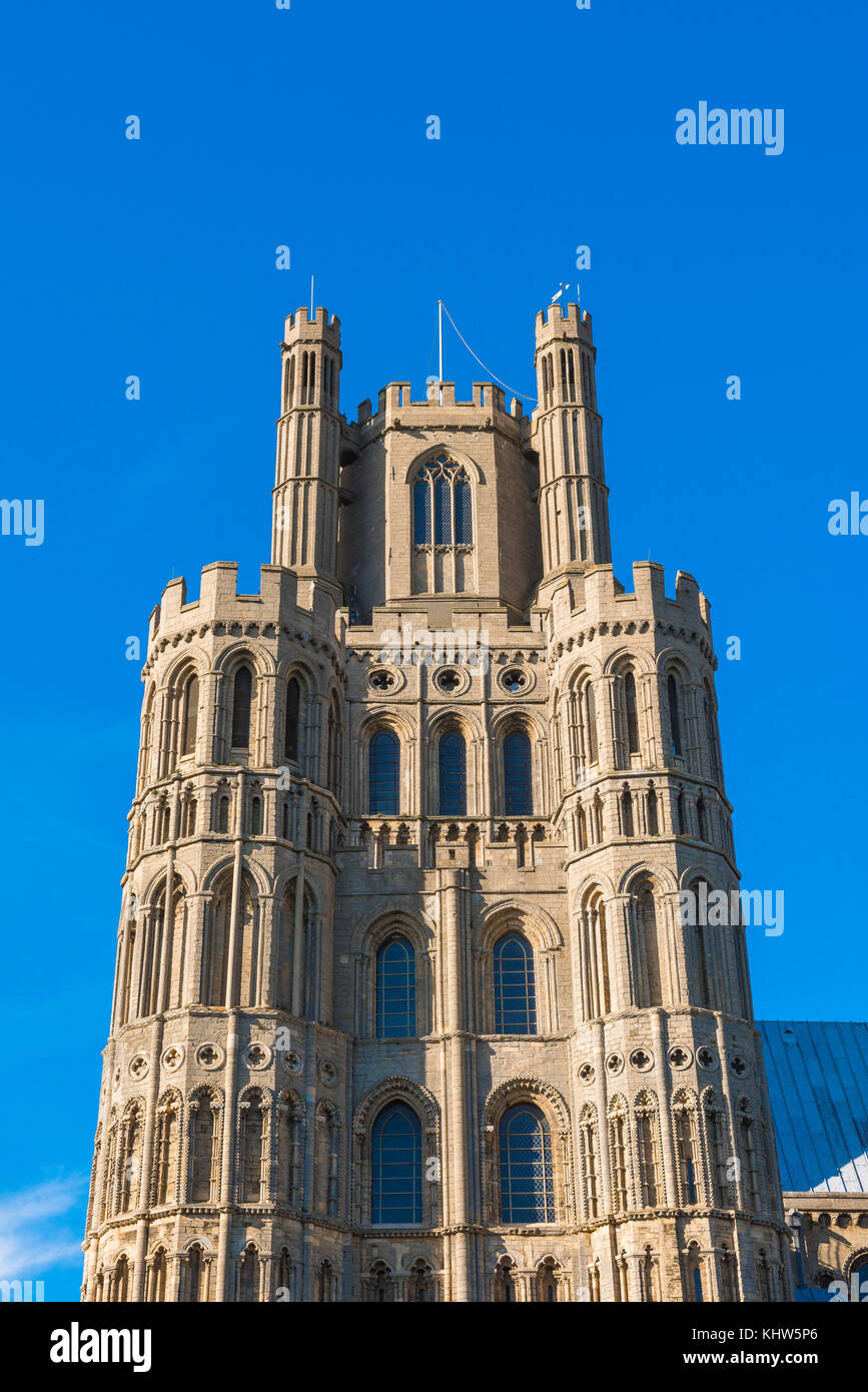Ely cathedral UK, detail of the upper level of the west tower of Ely Cathedral, Cambridgeshire, UK. - Stock Image