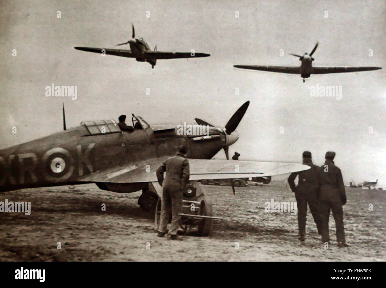 Photograph of the American 'Eagle Squadron'. The Eagle Squadron were three fighter squadrons of the Royal - Stock Image