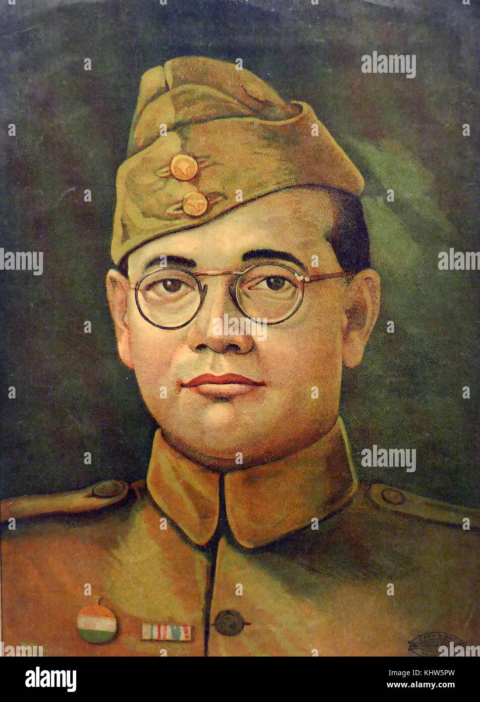 Portrait of Subhas Chandra Bose (1897-1945) an Indian nationalist whose defiant patriotism made his a hero in India, - Stock Image