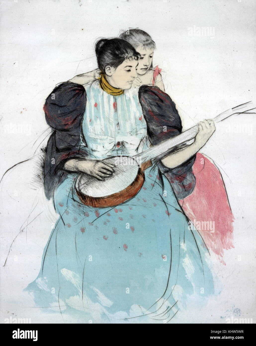 """Painting titled """"The Banjo Lesson"""" by Mary Cassatt. Mary Cassatt (1844-1926) an American painter and printmaker. Stock Photo"""