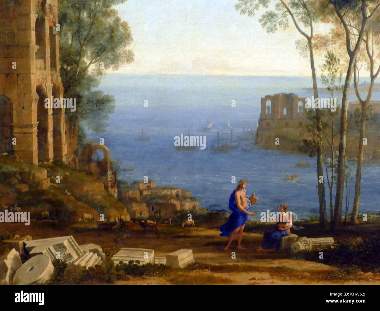 Painting titled 'Coast View with Apollo and the Cumaean Sibyl' by Claude Lorrain. Claude Lorrain (1600-1682) - Stock Image
