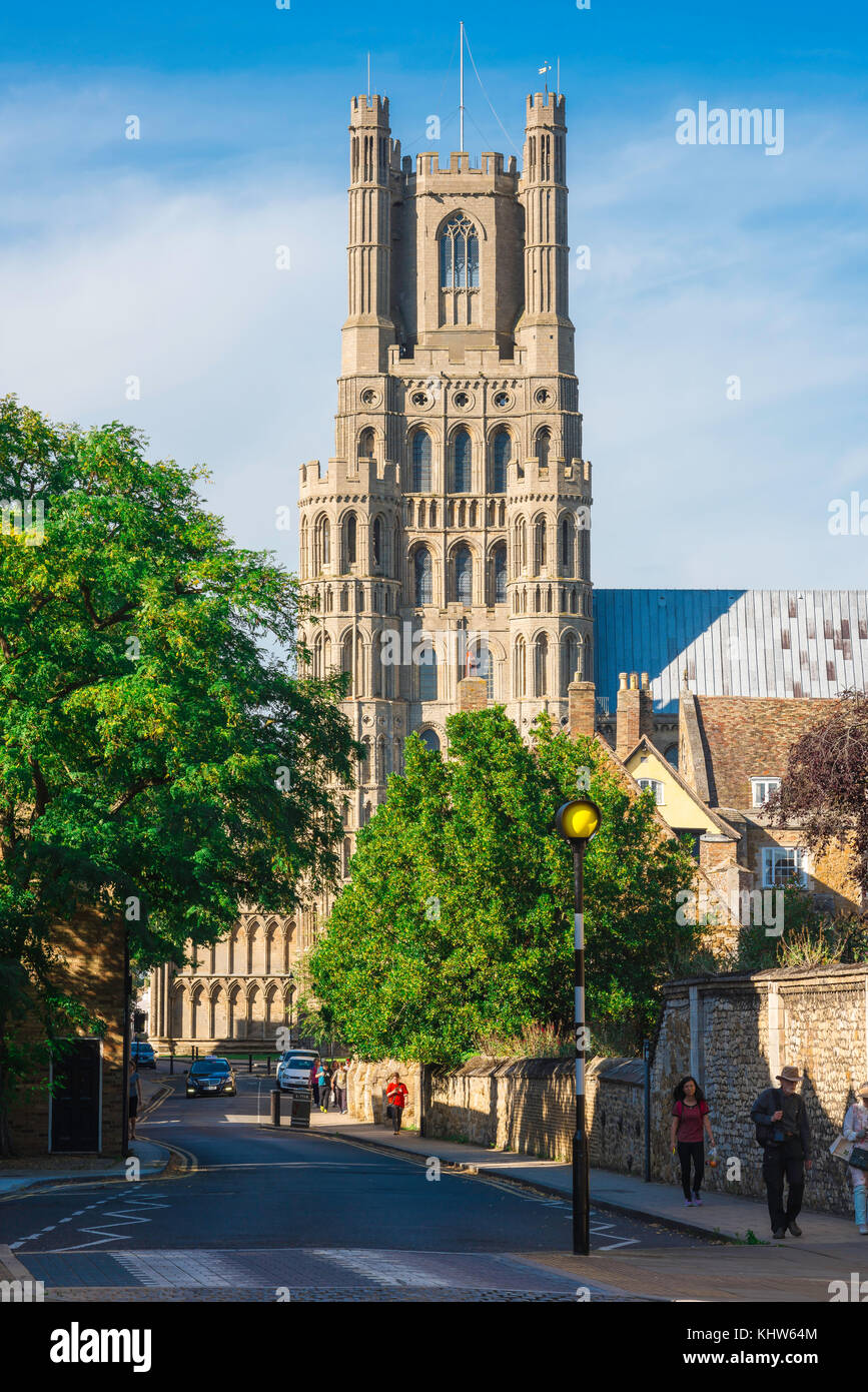 Ely Cambridgeshire, Ely Cathedral tower viewed from the street known as The Gallery, UK. - Stock Image