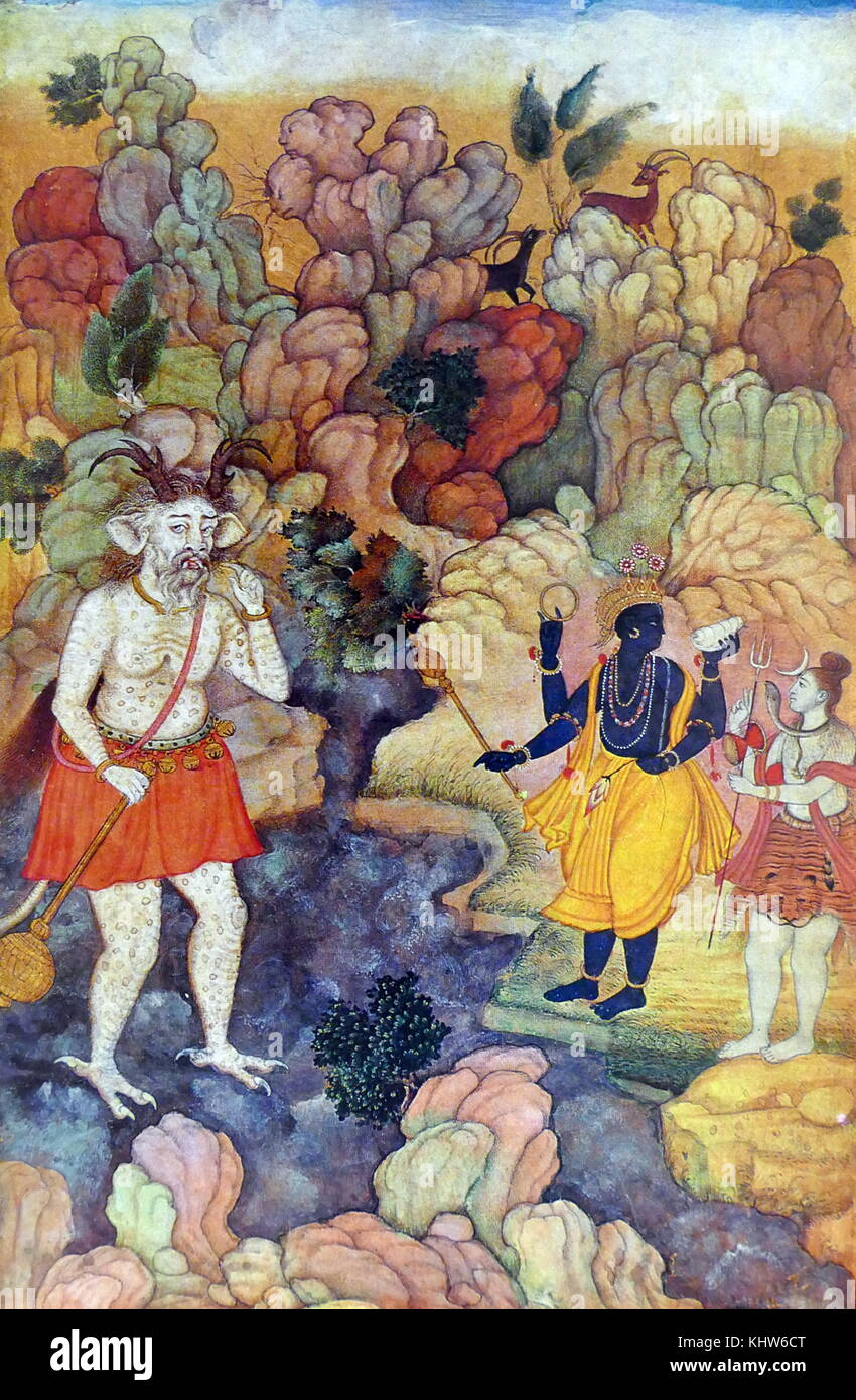 Painting depicting Vishnu and Shiva standing by a torrent from which appears a monster demon. Dated 17th Century - Stock Image
