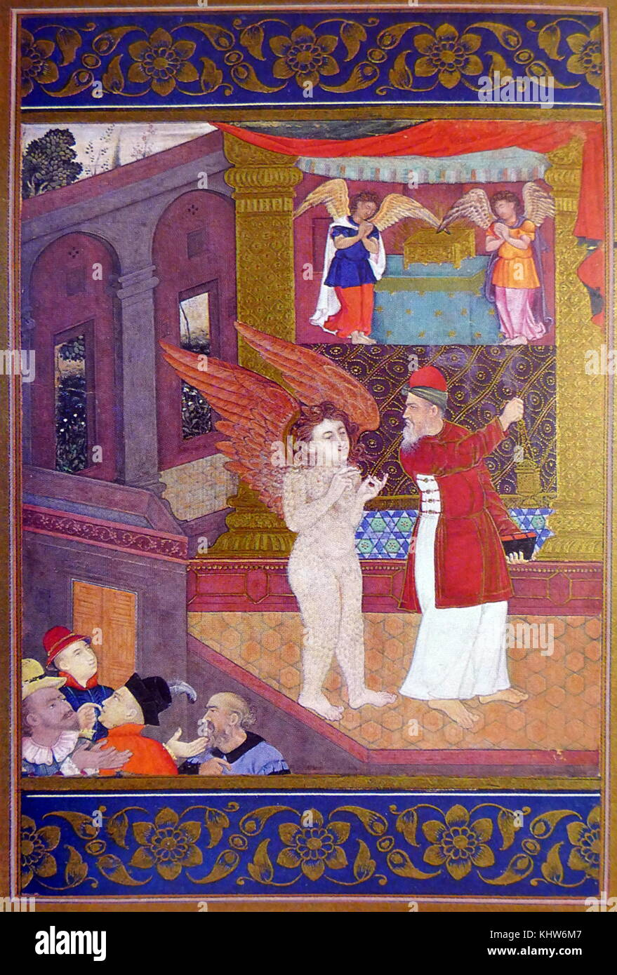 Mughal painting depicting Abraham being visited by Angels. The patriarch, holding a book and censer, looks back - Stock Image