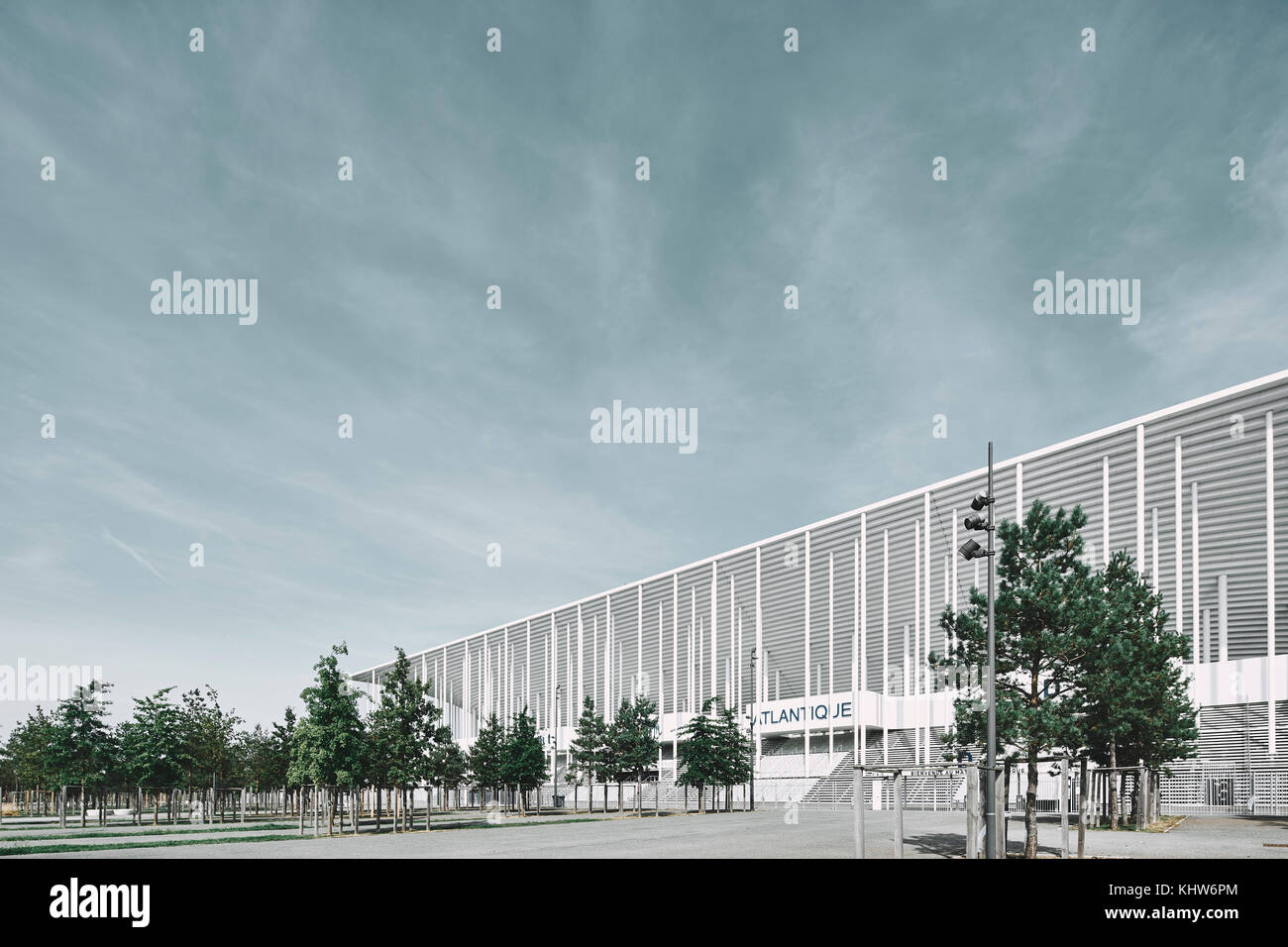Angled view of the Nouveau Stade de Bordeaux football stadium, Aquitaine, France - Stock Image