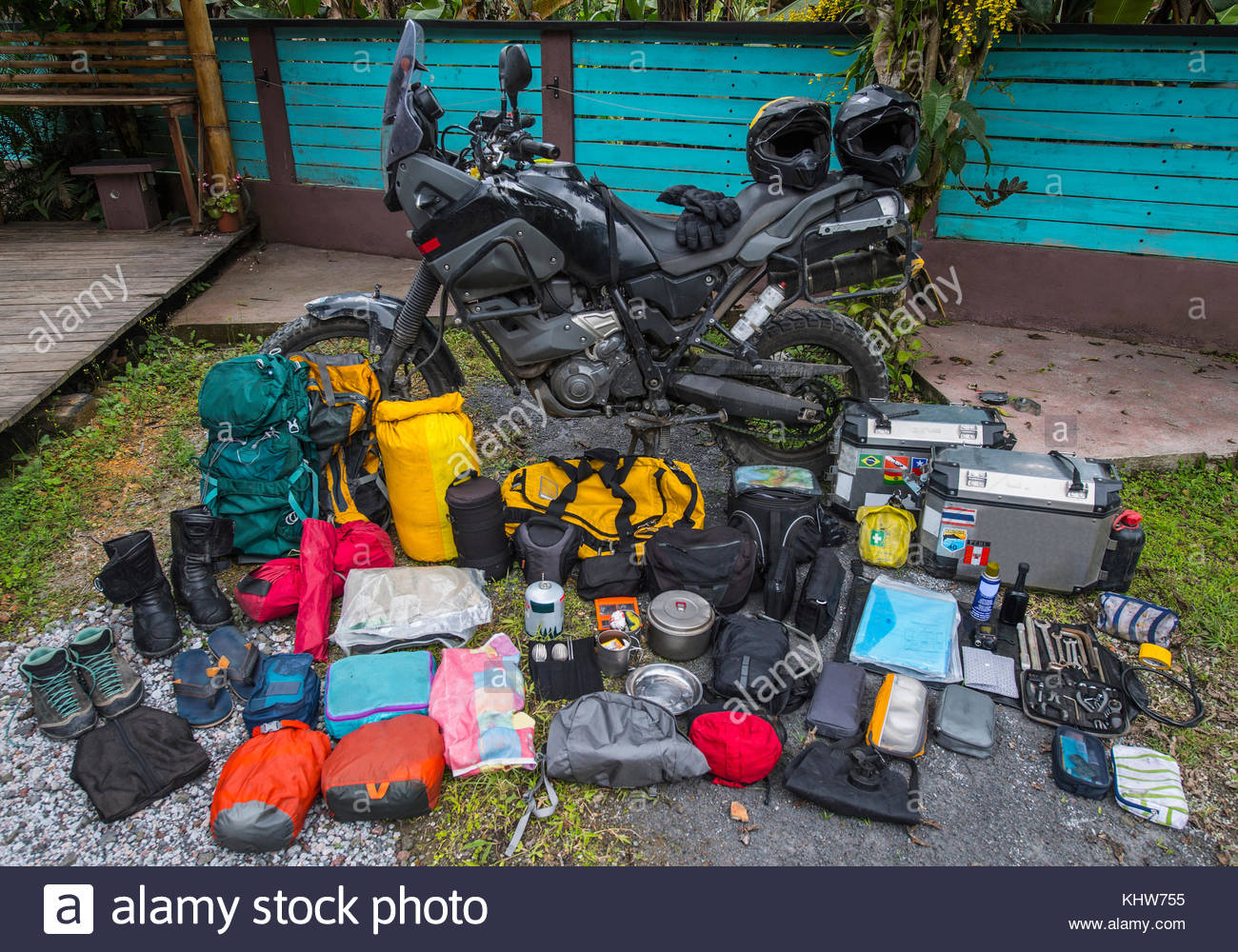 Adventure motorbike with travel gear, Medellin, Antioquia, Colombia - Stock Image