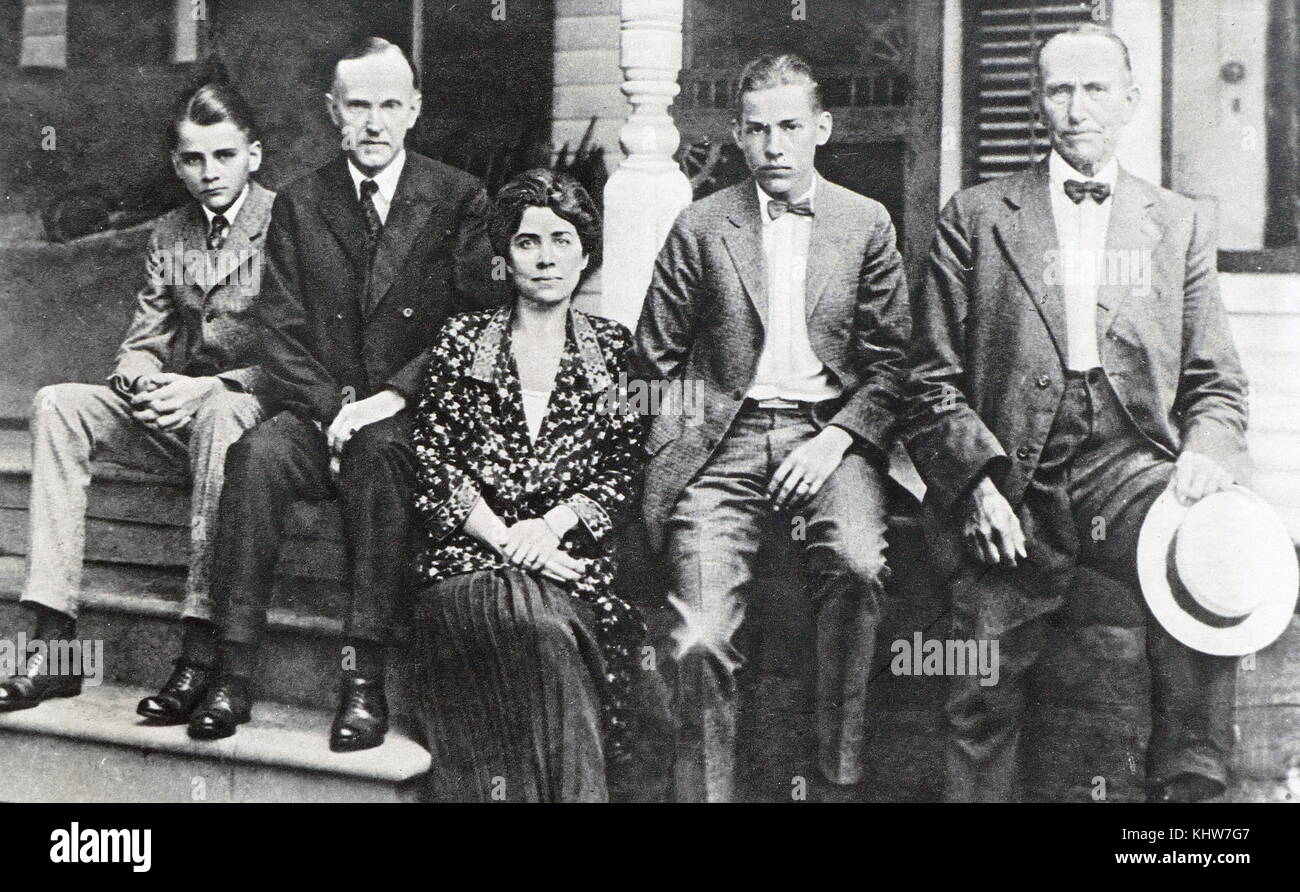 Photographic portrait of President Calvin Coolidge with his family. Calvin Coolidge (1872-1933) a Republican lawyer Stock Photo