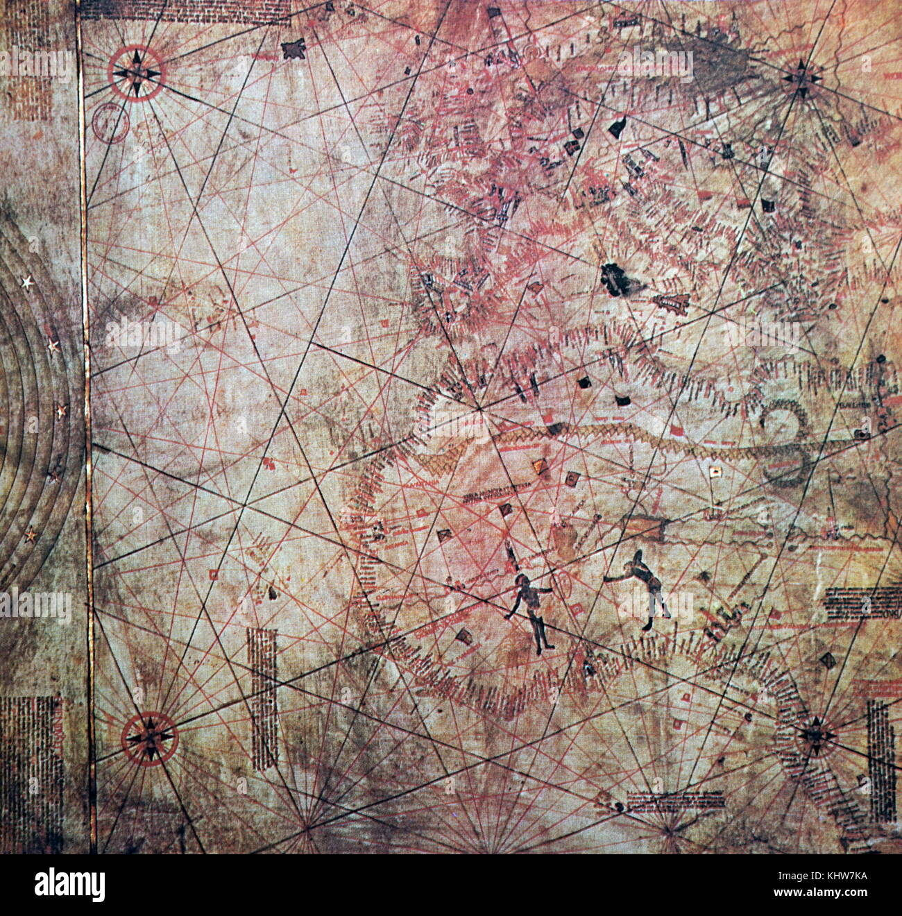 Map painted on calfskin believed to have been drawn by Christopher Columbus. Christopher Columbus (1451-1506) an - Stock Image