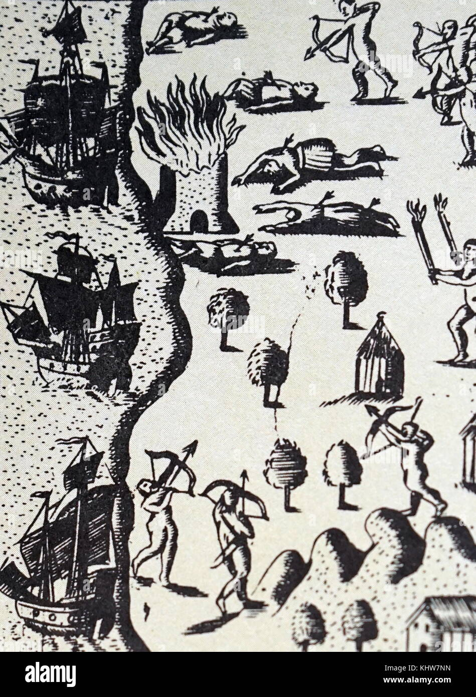 Illustration depicting the Spaniards, left behind by Christopher Columbus, being killed by Indians, Navidad. Dated - Stock Image