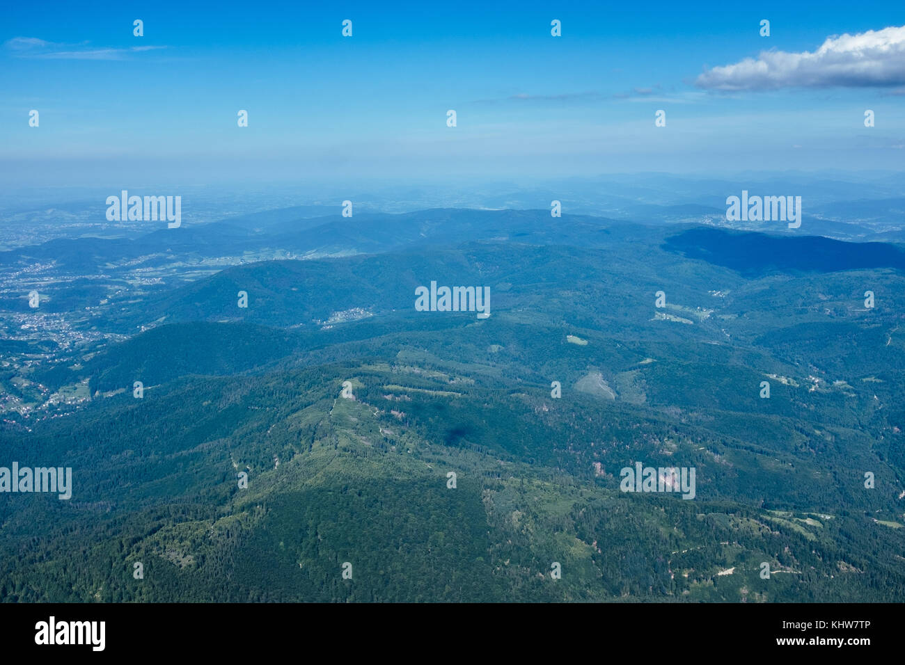 Aerial view of Beskid Maly mounatins range, Beskidy, Lesser Poland, Poland - Stock Image