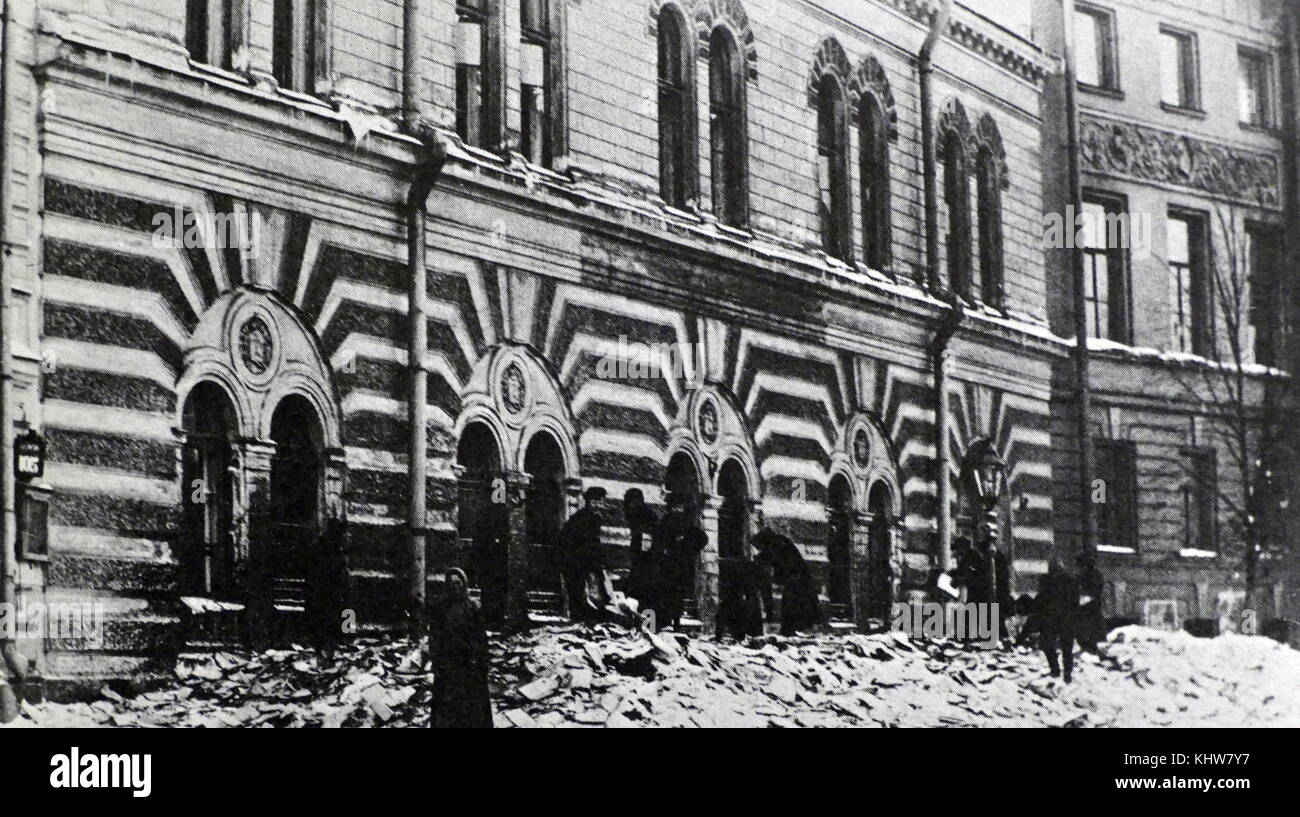 Photograph of an archive which was destroyed during the Russian Revolution in 1917. Dated 20th Century - Stock Image