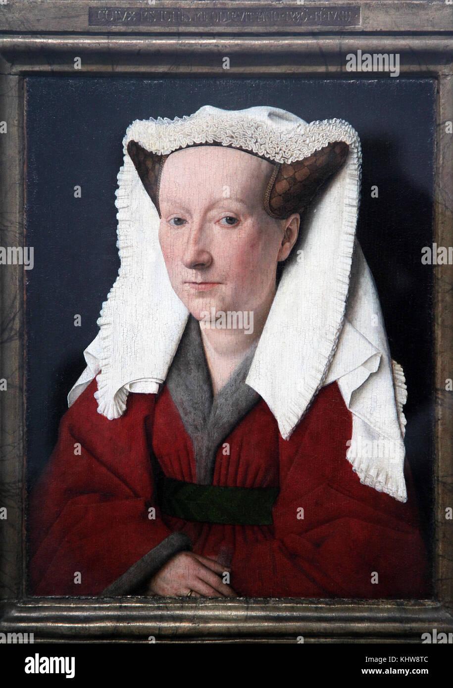 Portrait of Margareta van Eyck 1439 by Jan van Eyck 1390 – 1441.A Flemish painter active in Bruges. Stock Photo