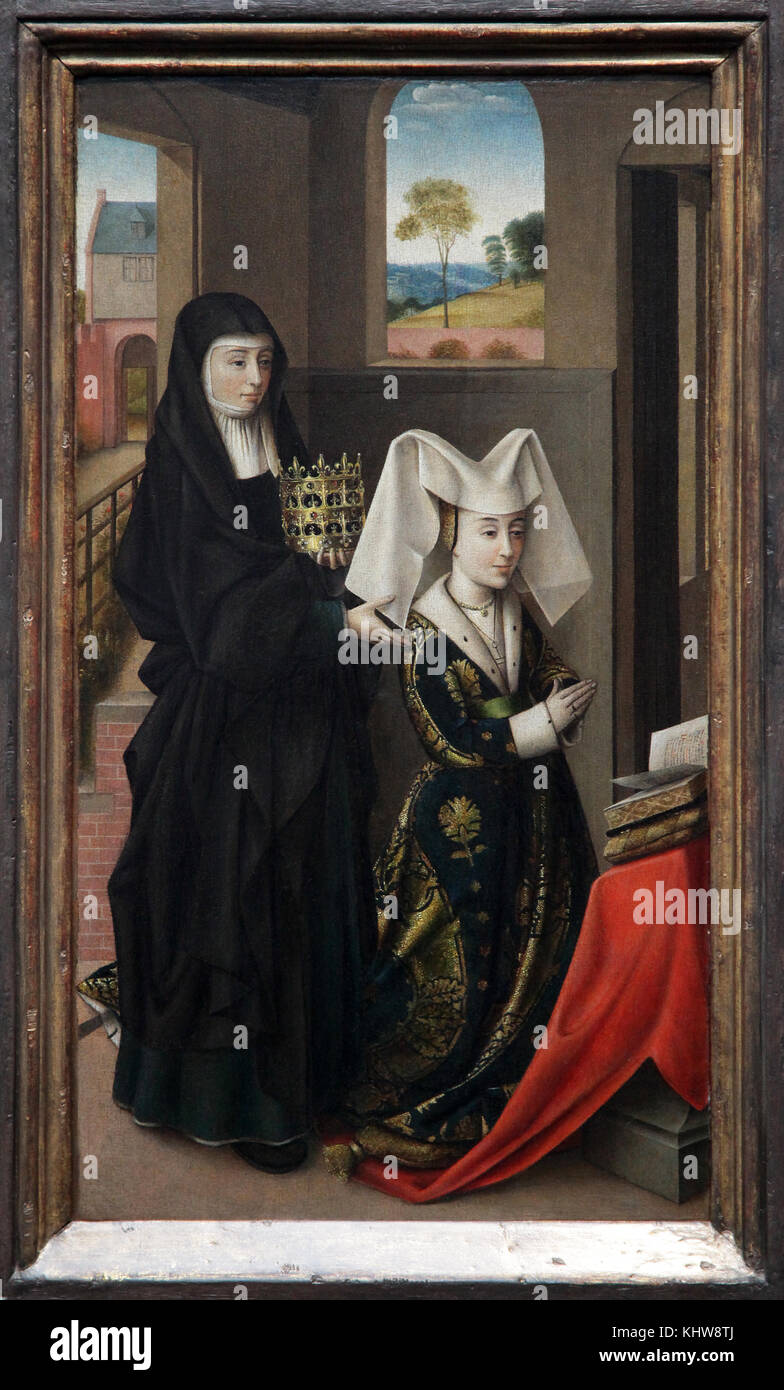 Isabella of Portugal with Saint Elisabeth  c. 1460 by Petrus Christus 1425-1475 Bruges Belgium - Stock Image