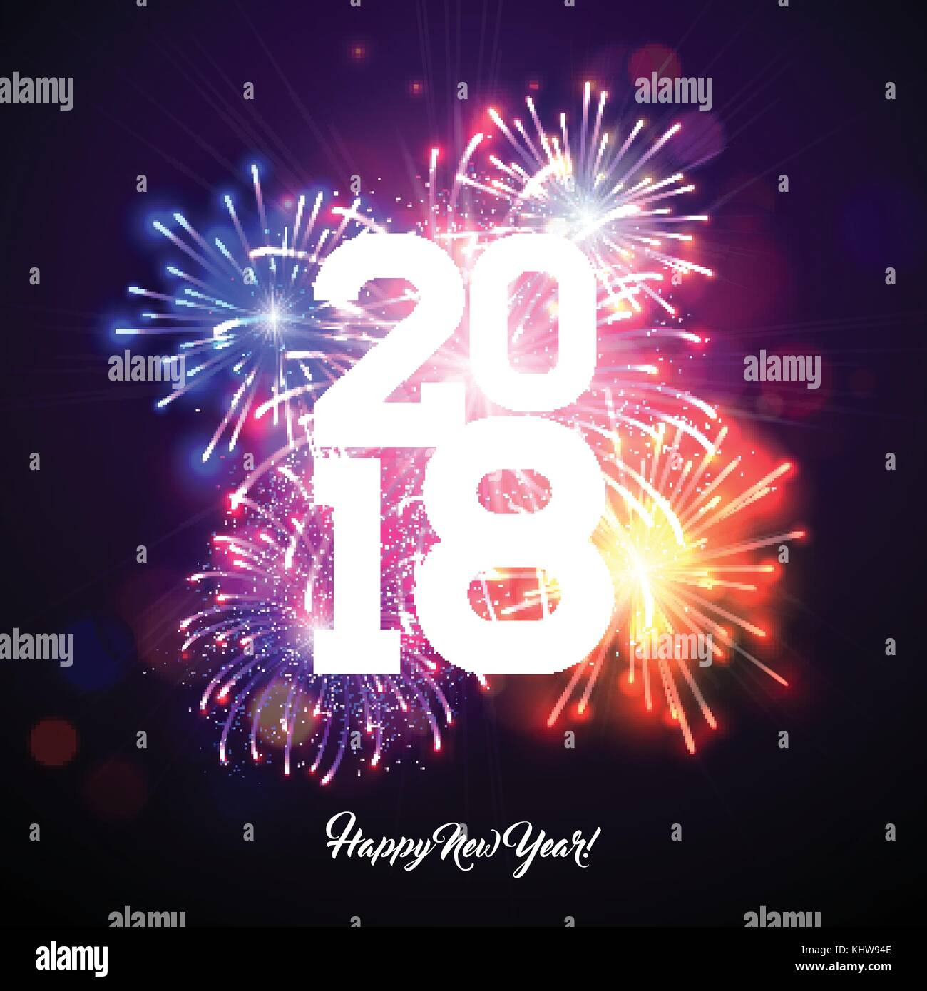 happy new year 2018 illustration with firework and white number on shiny blue background vector holiday design for premium greeting card party invitation