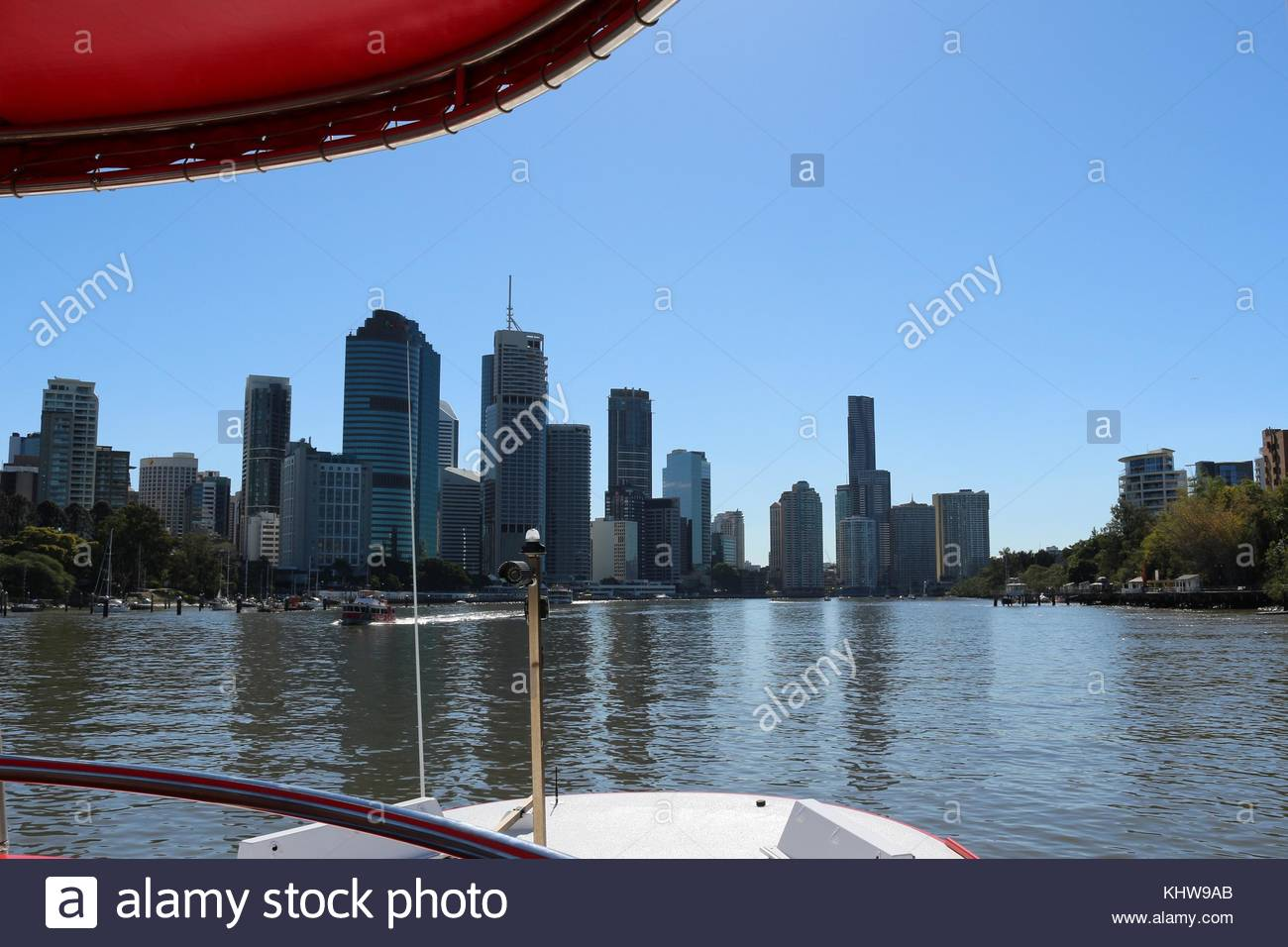 View at the skyline of Brisbane from boat - Stock Image