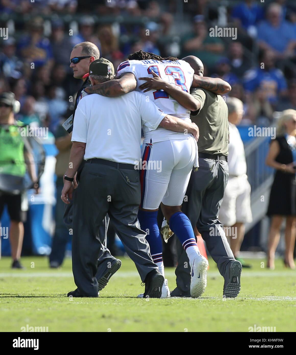 f3ad846d111 Buffalo Bills wide receiver Kelvin Benjamin  13 being helped off the field  during the NFL Buffalo Bills vs Los Angeles Chargers at the Stubhub Center  in ...