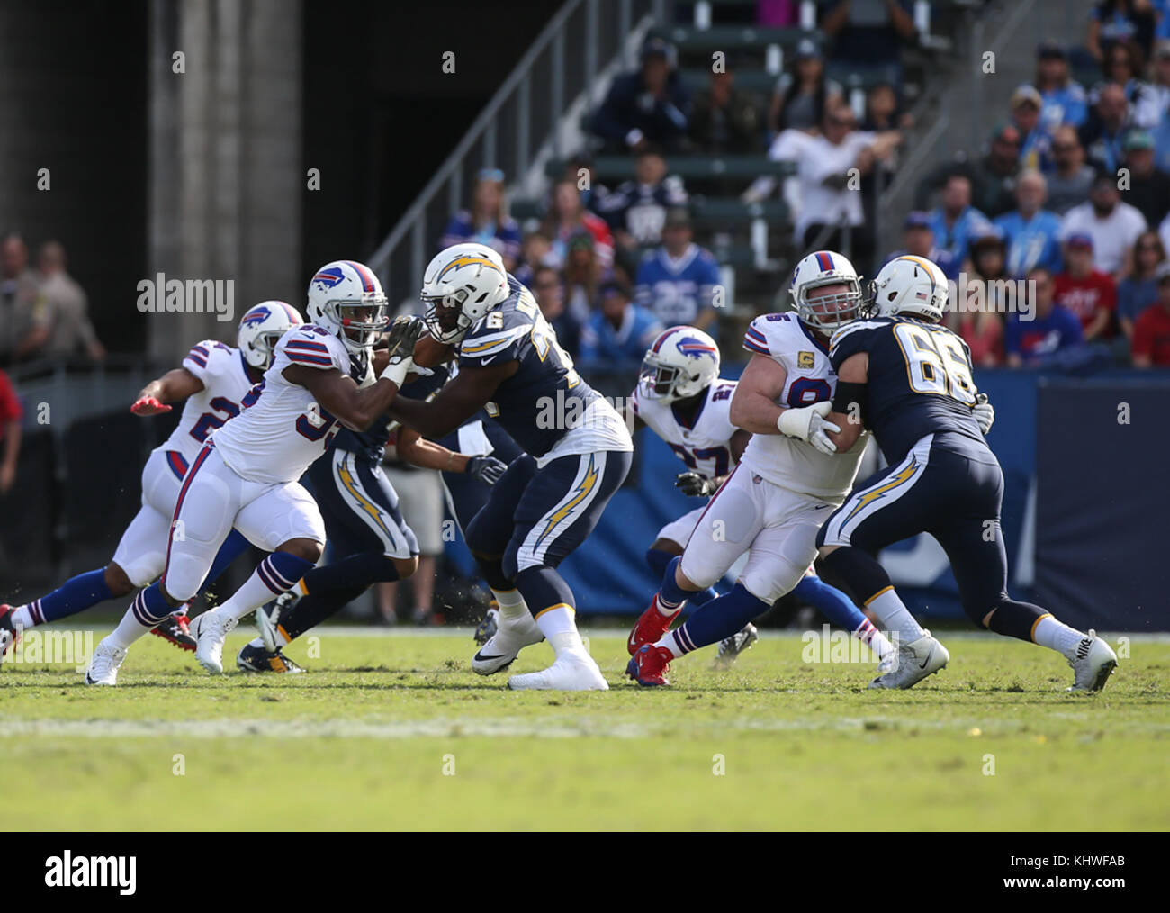 14b68382fa2 Los Angeles Chargers offensive tackle Russell Okung  76 blocking during the NFL  Buffalo Bills vs Los Angeles Chargers at the Stubhub Center in Carson