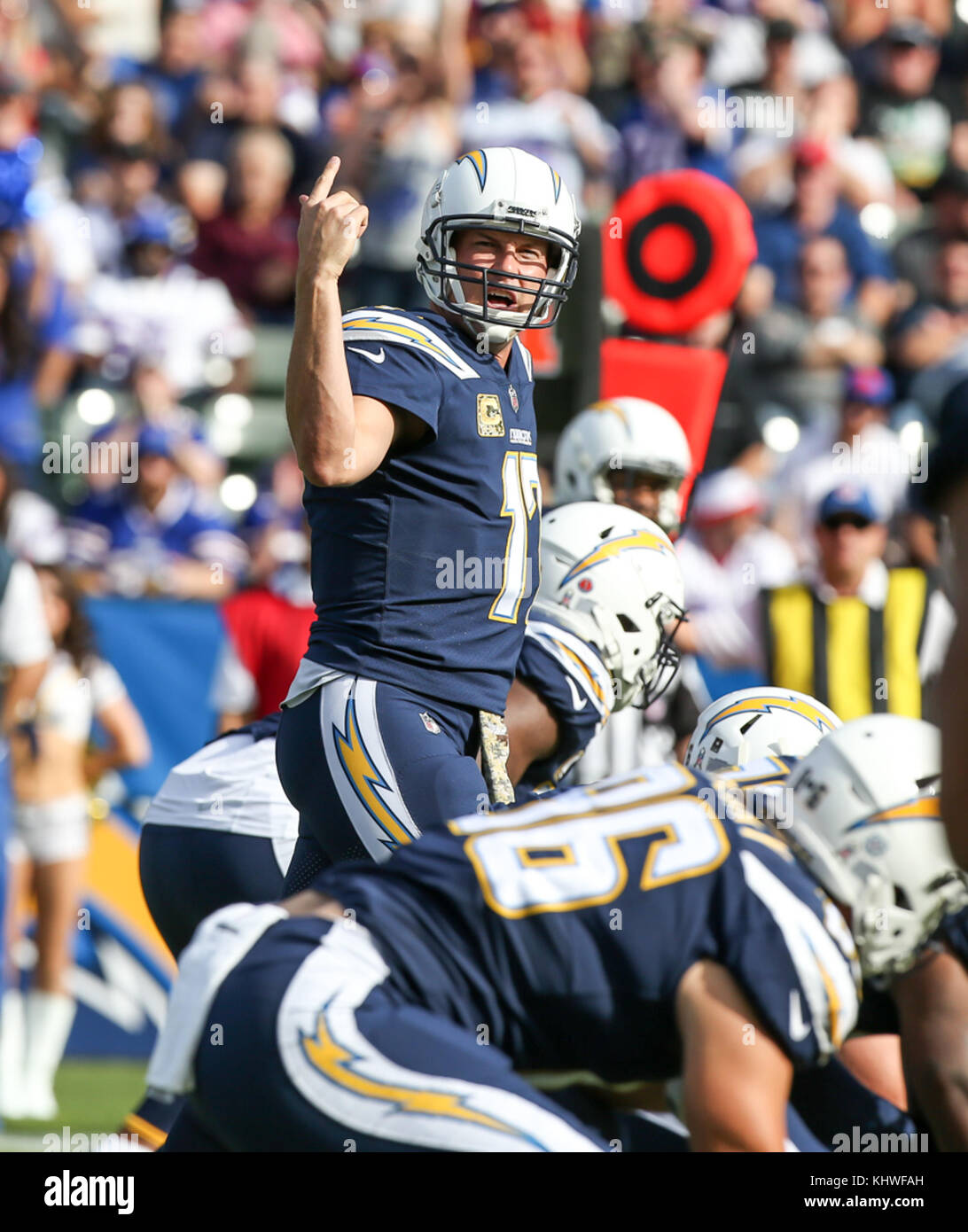 5a203c1fd69 Los Angeles Chargers quarterback Philip Rivers  17 making a call during the NFL  Buffalo Bills vs Los Angeles Chargers at the Stubhub Center in Carson