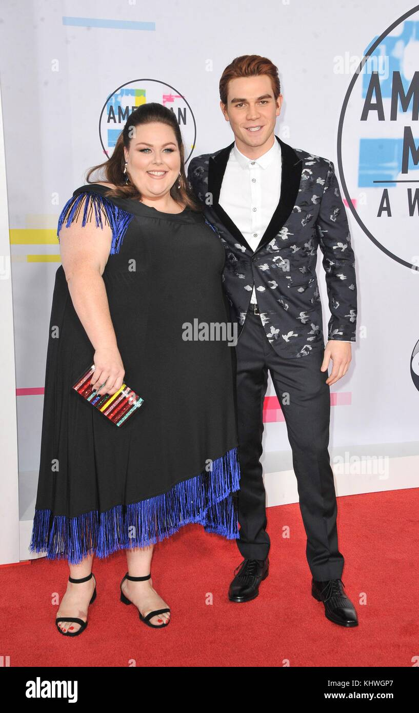 Chrissy Metz, KJ Apa at arrivals for 2017 American Music Awards (AMAs) - Arrivals, Microsoft Theater, Los Angeles, - Stock Image