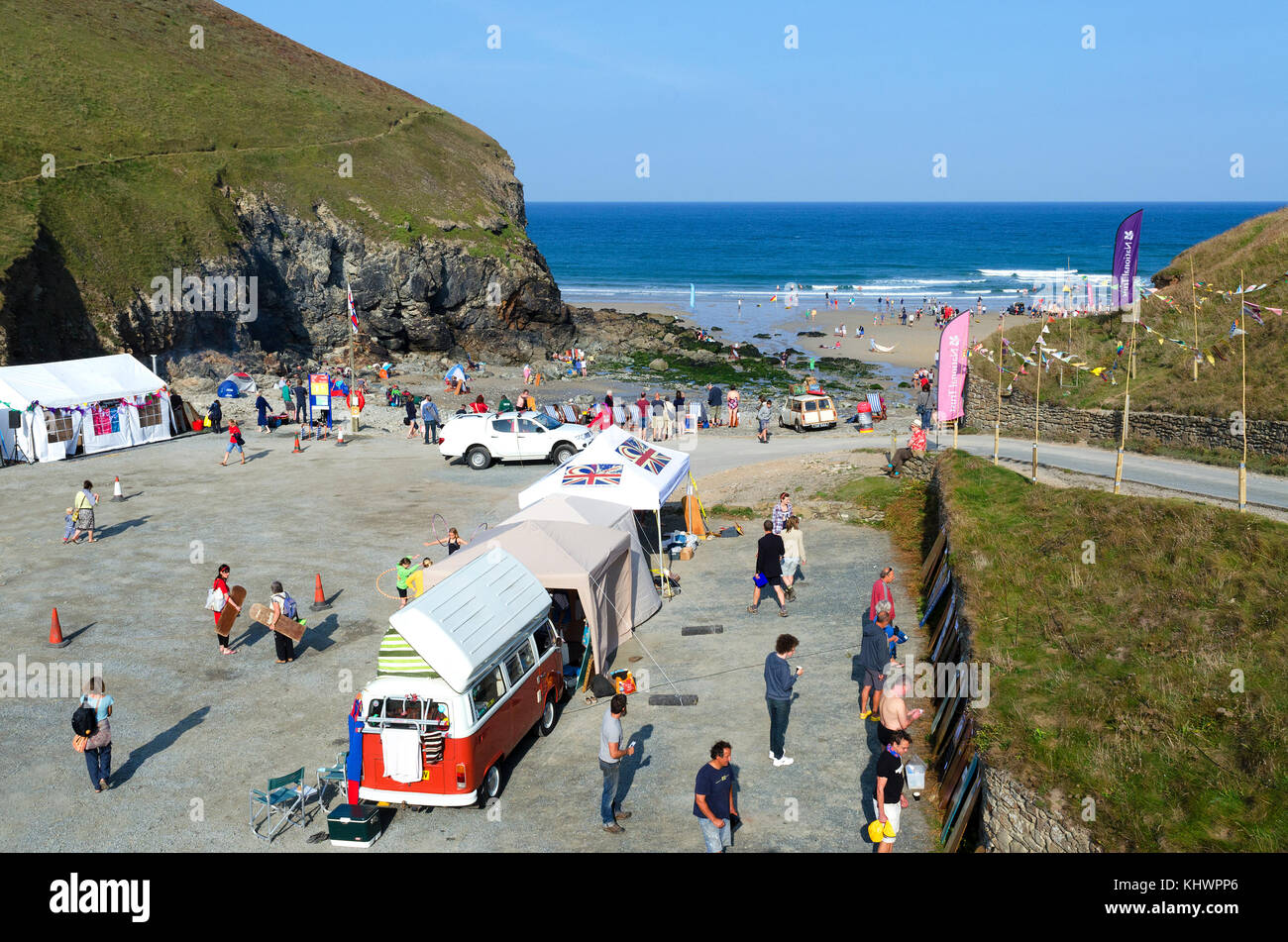 the beach and car park at chapel porth neat st.agnes in cornwall, england, uk. Stock Photo