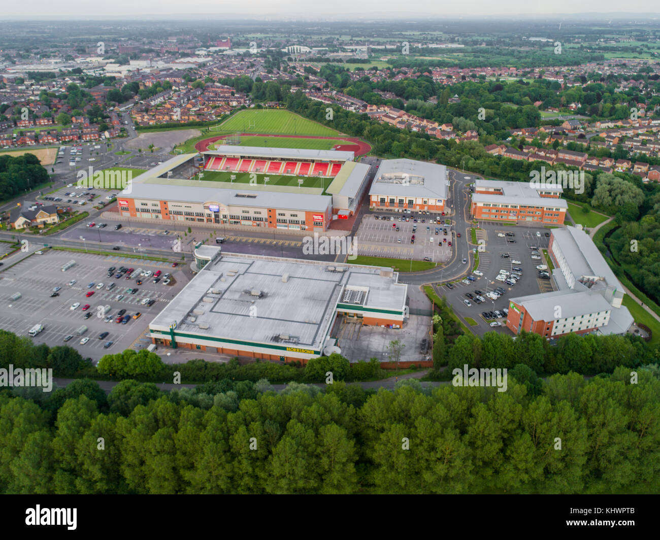 Leigh Sports Village With Morrisons Supermarket And Holiday Inn Express in Leigh, Greater Manchester, England, UK - Stock Image