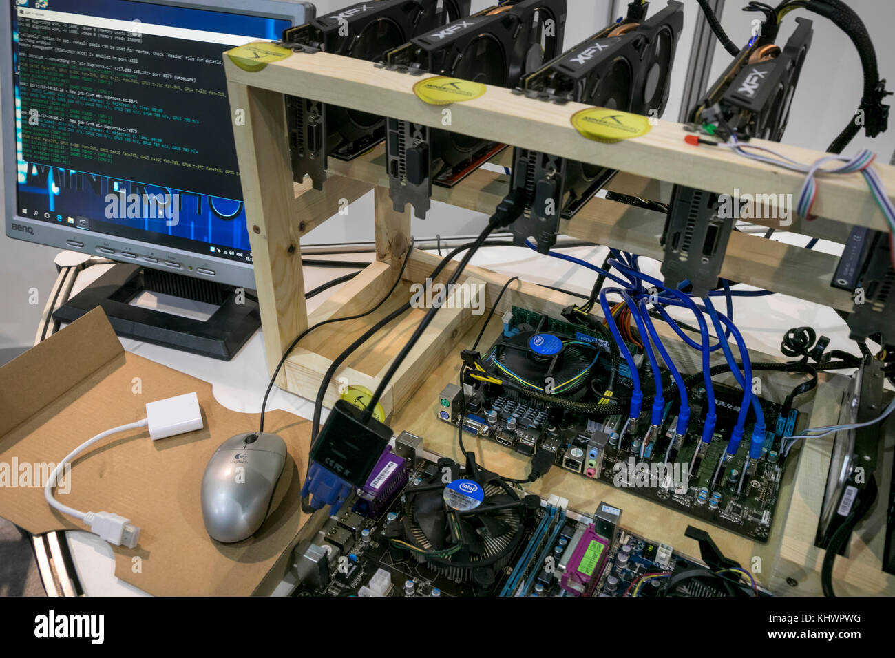 Mining station for crypto currency production on Blockchain conference - Stock Image