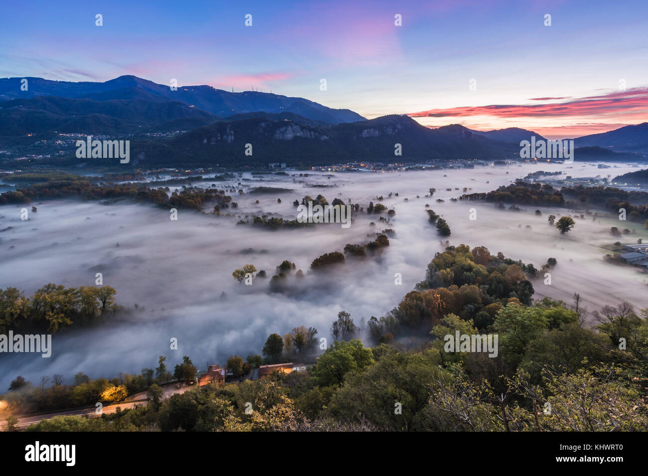 On the banks of the river Adda ,Airuno, province of Lecco, Italy Stock Photo
