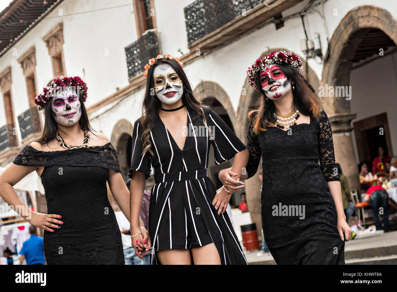Mexican Teens Dressed In La Calavera Catrina And Dapper