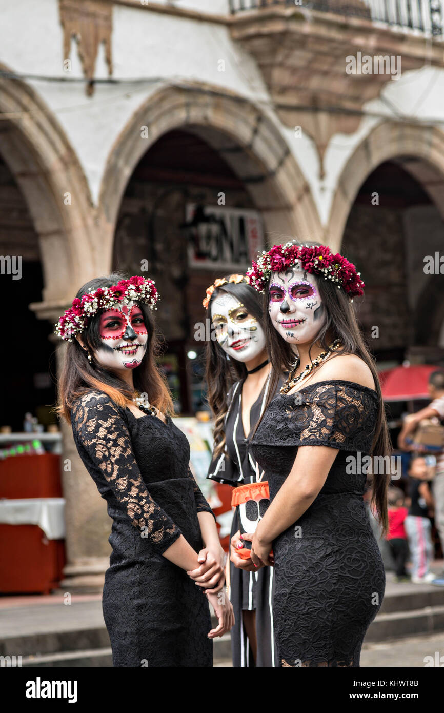 Mexican teens dressed in La Calavera Catrina and Dapper Skeleton costumes for the Day of the Dead or Día de Muertos festival October 31 2017 in Patzcuaro ...  sc 1 st  Alamy & Mexican teens dressed in La Calavera Catrina and Dapper Skeleton ...