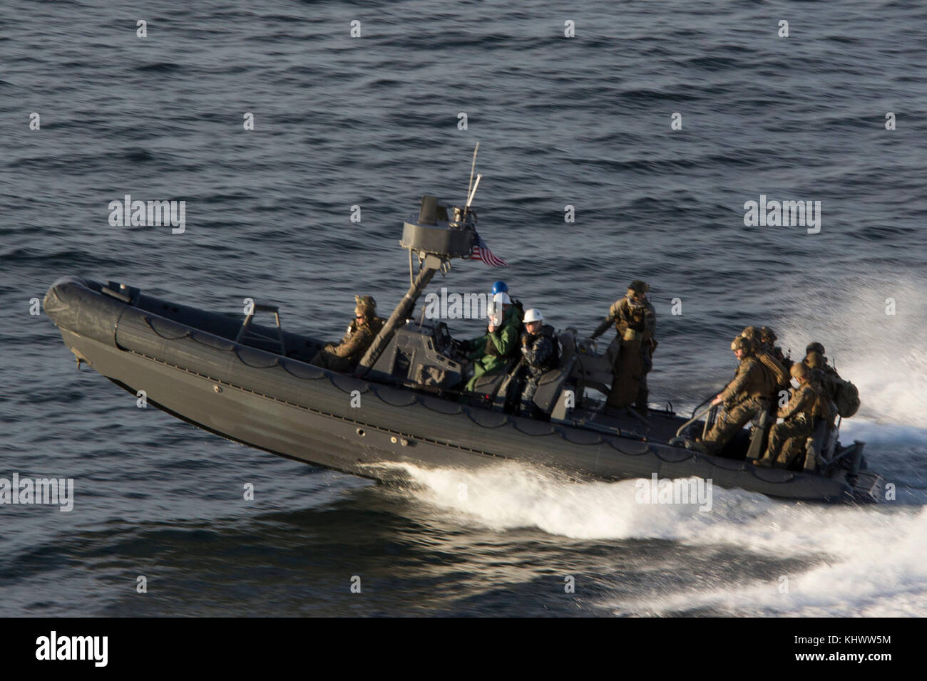 U.S. Marines with the Maritime Raid Force (MRF), 26th Marine Expeditionary Unit (MEU), return from the Training Stock Photo