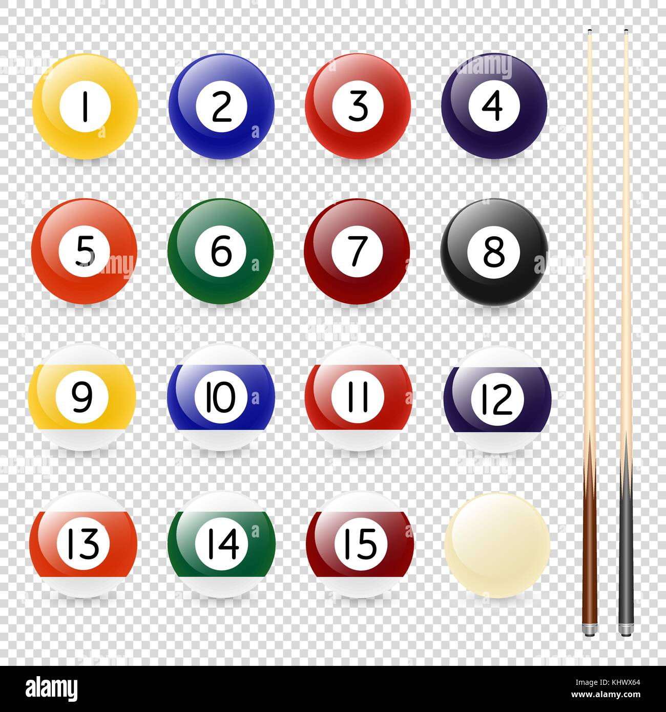 Vector realistic pool - billiard balls and cue closeup isolated on transparent background. Design template in EPS10. - Stock Vector